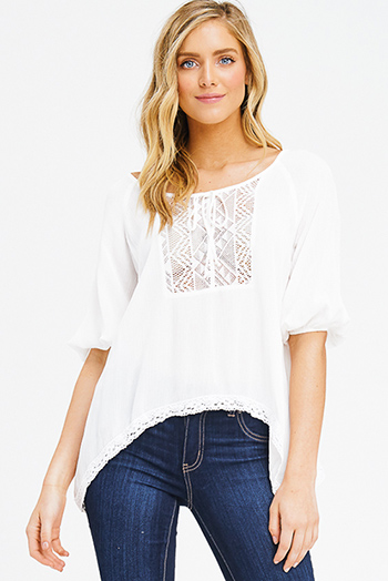 $15 - Cute cheap white embroidered long bell sleeve open back boho peasant mini dress - ivory white quarter length dolman sleeve crochet trim tie front boho peasant blouse top