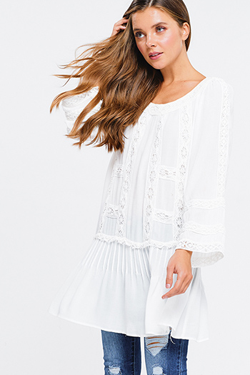 $15 - Cute cheap pocketed boho mini dress - Ivory white rayon gauze crochet lace trim long sleeve boho beach cover up mini dress