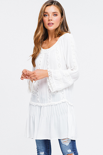 $15 - Cute cheap red plaid flannel button up long sleeve belted tunic mini shirt dress - Ivory white rayon gauze crochet lace trim long sleeve boho beach cover up mini dress