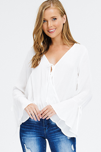 $15 - Cute cheap white and blue tie dye print long dolman sleeve button up boho blouse top - ivory white rayon gauze long trumpet bell sleeve faux wrap tie front boho blouse top