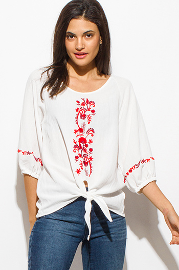 $15 - Cute cheap white chiffon shirred smocked flutter bell sleeve boho crop blouse top - ivory white red embroidered quarter sleeve front tie hem boho peasant top