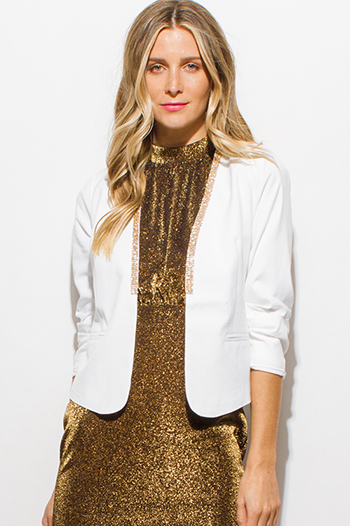$15 - Cute cheap ruffle sheer sexy party top - ivory white rhinestone bejeweled ruched quarter sleeve cropped party blazer top