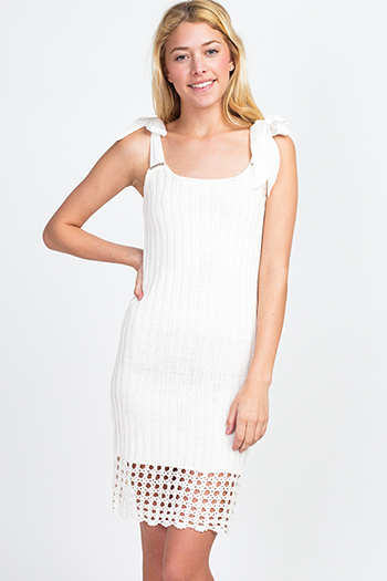 $20 - Cute cheap floral pocketed dress - Ivory white ribbed knit crochet hem tie silk strap resort sheath sweater midi dress