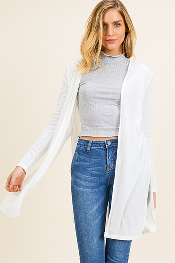 $15 - Cute cheap ice blue satin white lace contrast long sleeve zip up boho bomber jacket - Ivory white ribbed knit long sleeve slit sides open front boho duster cardigan
