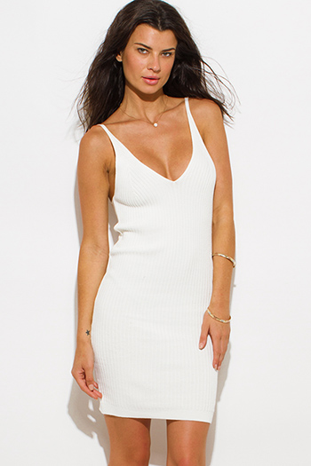 $20 - Cute cheap white ruched dress - ivory white ribbed knit thin strap v neck open back fitted bodycon sexy clubbing mini dress