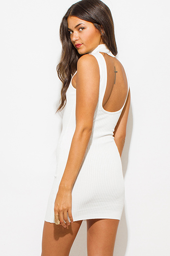 $25 - Cute cheap distressed mocha faux leather stripe banded waisted pleated sexy club mini skirt 88022 - ivory white ribbed knit turtleneck cut out backless fitted  bodycon club mini dress