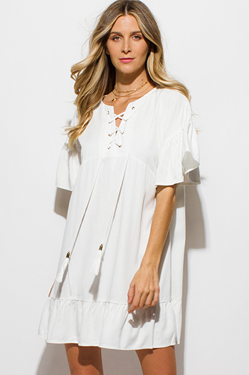 $15 - Cute cheap shift dress - ivory white ruffle butterfly sleeve tassel laceup front boho peasant shift mini dress