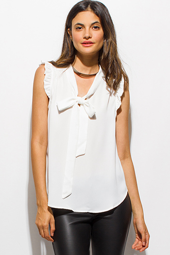 $15 - Cute cheap chiffon ruffle boho blouse - ivory white ruffle bow tie sleeveless blouse top