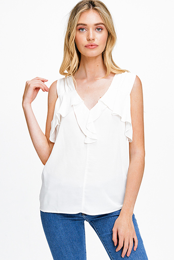 $12 - Cute cheap pink caged boho top - Ivory white ruffled v neck sleeveless open tie back boho blouse top