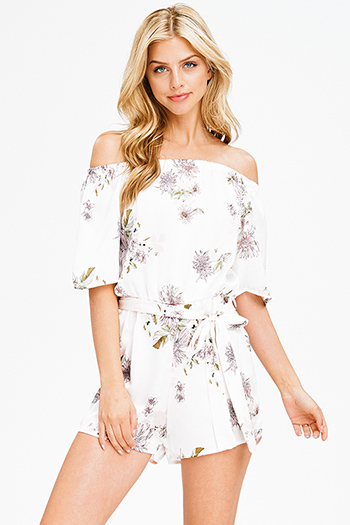 $15 - Cute cheap ivory white satin floral print off shoulder tie waist boho romper playsuit jumpsuit