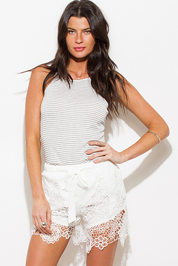 $15 - Cute cheap white sheer crochet blouse - ivory white scallop crochet lace hem boho drawstring sexy party shorts