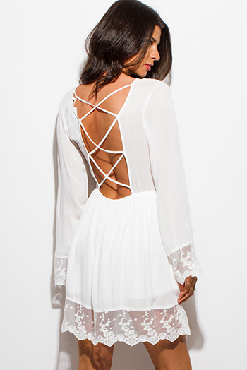 $20 - Cute cheap black crochet lace contrast strapless bodycon fitted sexy clubbing mini dress - ivory white scallop lace trim bell sleeve cut out caged back boho mini dress