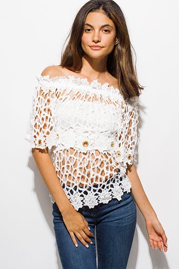 $15 - Cute cheap white embroidered scallop crochet lace hem criss cross back boho tank top - ivory white see through bejeweled crochet lace off shoulder boho beach cover up top