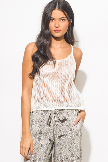 $10 - Cute cheap khaki beige stripe print halter chiffon hem racer back boho sexy party tank top - ivory white see through crochet racer back boho party tank top