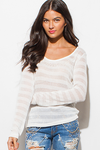 $15 - Cute cheap ruffle sheer sexy party top - ivory white semi sheer stripe knit pearl bejeweled long sleeve scoop neck sweater top
