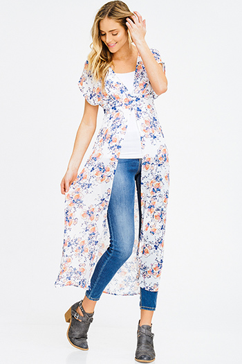 $20 - Cute cheap ivory navy polka dot print ruffle keyhole tie front boho tank blouse top - ivory white sheer chiffon floral print buttoned short sleeve boho beach cover up maxi top