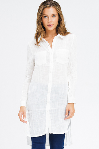 $20 - Cute cheap blue ruched sexy club dress - ivory white sheer cotton gauze long sleeve button up boho tunic mini shirt dress