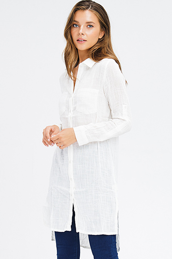 $15 - Cute cheap pocketed boho mini dress - ivory white sheer cotton gauze long sleeve button up boho tunic mini shirt dress