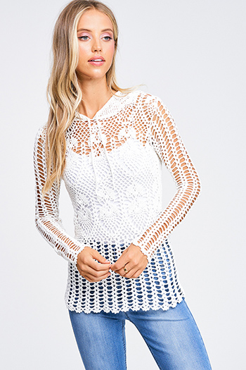 $20 - Cute cheap floral boho crop top - Ivory white sheer crochet knit long sleeve scallop hem hooded boho top
