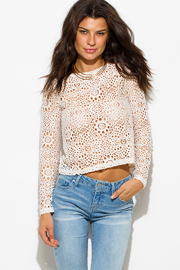 $15 - Cute cheap ivory white mandarin collar long sleeve zip up fitted jacket crop top - ivory white sheer crochet lace long sleeve boho crop blouse top