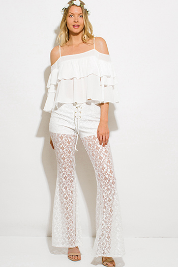 $10 - Cute cheap lace sheer jumpsuit - ivory white sheer floral polka dot lace mesh laceup scallop hem boho wide flare leg pants