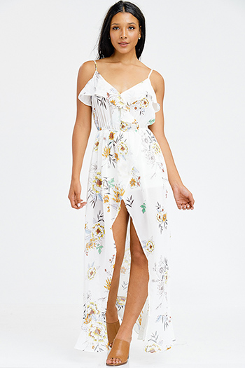 $25 - Cute cheap white floral print sleeveless sheer mesh lined side slit boho midi sun dress - ivory white sheer floral print chiffon ruffle tiered faux wrap boho maxi evening sun dress