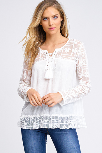 $15 - Cute cheap taupe beige floral print v neck quarter length bell sleeve tie front boho crop blouse top - Ivory white sheer lace contrast long sleeve boho laceup tassel tie peasant blouse top