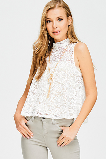 $10 - Cute cheap blue crop top - ivory white sheer lace sleeveless mock neck chain necklace crop top