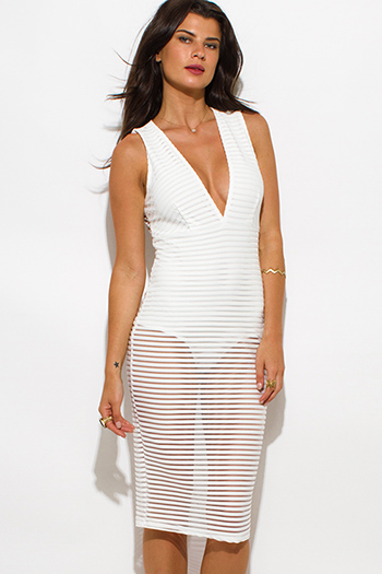 $25 - Cute cheap ribbed party dress - ivory white sheer stripe mesh low v neck bodysuit bodycon sexy clubbing midi dress