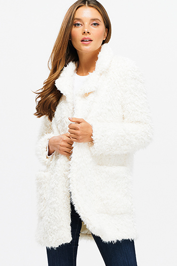 $35 - Cute cheap ivory navy polka dot print ruffle keyhole tie front boho tank blouse top - Ivory white sherpa fleece faux fur open front pocketed blazer duster coat jacket