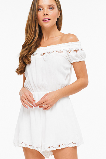 $15 - Cute cheap open back wrap jumpsuit - Ivory white shirred off shoulder crochet lace trim cut out back boho romper playsuit