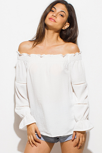 $15 - Cute cheap penny stock bright white bow tie boxy tee 84768 - ivory white shirred off shoulder long blouson sleeve boho blouse top