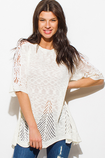 $15 - Cute cheap white v neck top - ivory white short sleeve crochet lace applique crochet knit boho top