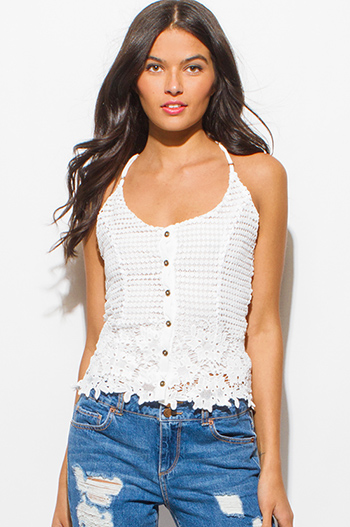 $15 - Cute cheap lace boho tank top - ivory white sleeveless crochet lace halter cut out open back button up boho sexy party tank top