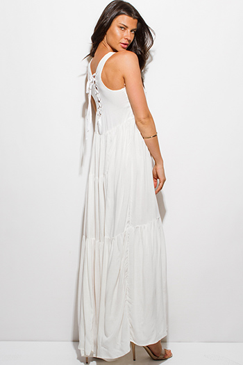 $25 - Cute cheap print open back maxi dress - ivory white sleeveless quilted laceup tie racer back evening maxi sun dress