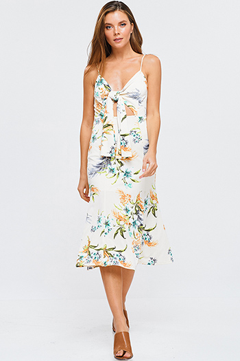 $15 - Cute cheap black floral print ruffle off shoulder pocketed boho wide leg jumpsuit - Ivory white sleeveless tropical floral print cut out tie front boho pencil midi sun dress