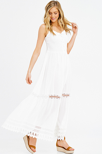 $25 - Cute cheap ivory white lace sleeveless scallop hem a line cocktail sexy party boho midi dress - ivory white smocked sleeveless laceup tiered resort evening boho maxi sun dress
