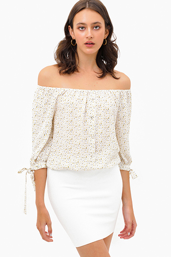 $20 - Cute cheap boho top - Ivory white speckle print off shoulder quarter tie sleeve button trim boho blouse top