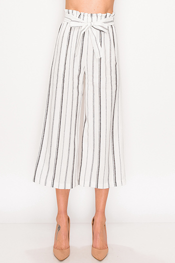 $20 - Cute cheap ivory white retro stripe ribbed knit long sleeve boho fitted sweater mini dress - Ivory white striped paperbag high wasited belted wide leg linen culotte pants