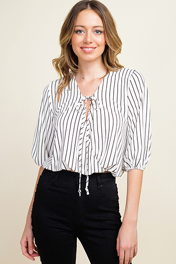 $10 - Cute cheap black linen mid rise tie waisted pocketed resort boho shorts - Ivory white striped quarter sleeve surplice tie front boho blouse top