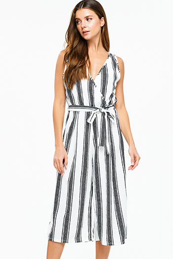 $15 - Cute cheap black stripe strapless sweetheart neck cut out wide leg resort evening jumpsuit - Ivory white striped sleeveless surplice tie waist wide leg boho cropped jumpsuit