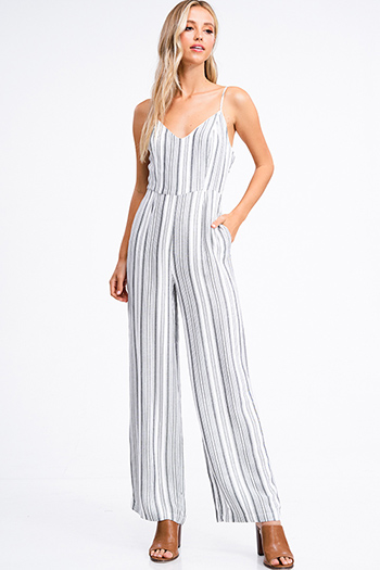 $18 - Cute cheap black v neck gathered knot front boho sleeveless top - Ivory white striped sleeveless v neck cut out tie back zip up pocketed wide leg boho jumpsuit