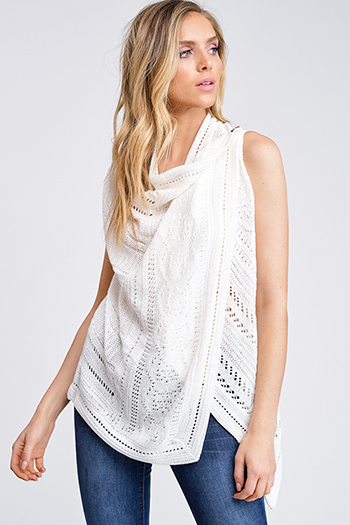 $20 - Cute cheap light gray color block metallic lurex fringe trim cowl neck sweater knit boho poncho tunic top - Ivory white sweater knit draped open front buttoned boho vest cardigan top