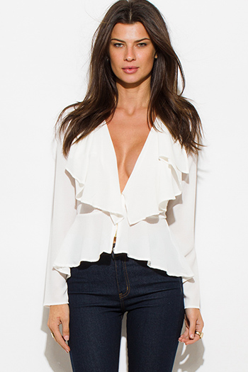 $20 - Cute cheap white sleeveless secretary blouse bow tie top - ivory white textured fabric deep v neck tiered ruffle high low hem blouse jacket top