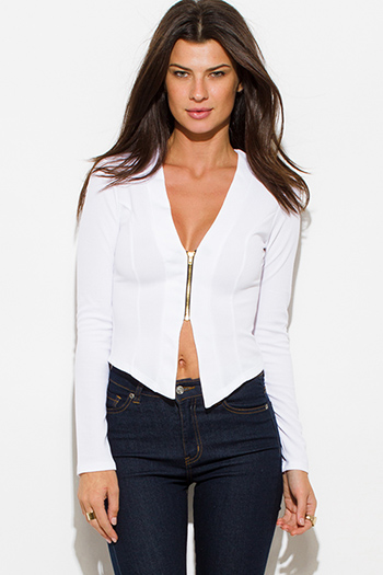 $15 - Cute cheap black mandarin collar long sleeve zip up fitted jacket crop top - ivory white textured long sleeve asymmetrical hem zip up fitted jacket top