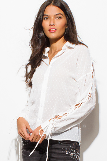$10 - Cute cheap long sleeve blouse - ivory white textured semi sheer chiffon cut out laceup long sleeve button up blouse top