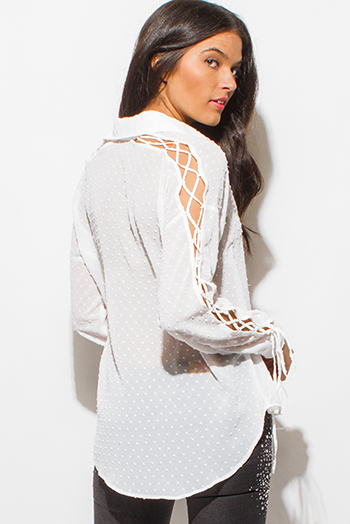 $15 - Cute cheap white beach cover up - ivory white textured semi sheer chiffon cut out laceup long sleeve button up blouse top