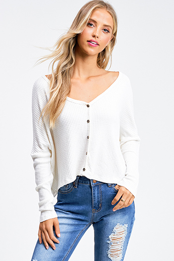 $20 - Cute cheap Ivory white thermal knit long sleeve cropped boho button up top