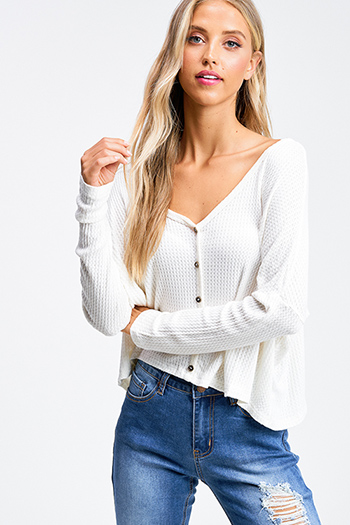 $20 - Cute cheap brown plaid print flannel long sleeve frayed hem button up blouse tunic top - Ivory white thermal knit long sleeve cropped boho button up top