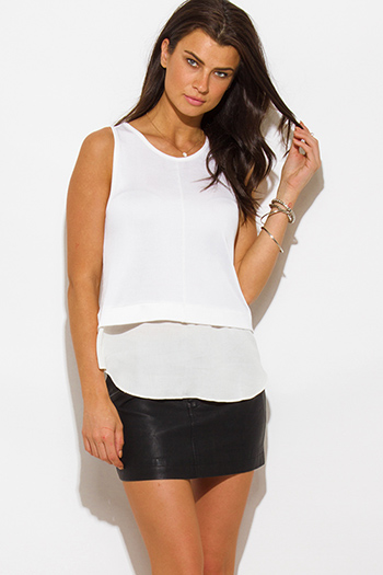 $10 - Cute cheap white sheer crochet blouse - ivory white tiered knit chiffon contrast sleeveless blouse top